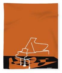Piano In Orange Fleece Blanket
