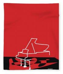 Piano In Red Fleece Blanket