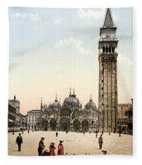 Piazza San Marco, 1890s Fleece Blanket
