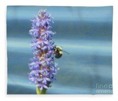 Pickerelweed Bumble Bee Fleece Blanket