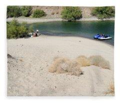 Picnic On Lake Mohave Fleece Blanket