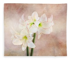 Picotee Amaryllis Fleece Blanket