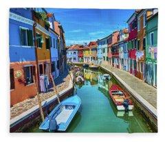 Picturesque Buildings And Boats In Burano Fleece Blanket