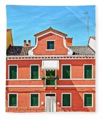 Picturesque House In Burano Fleece Blanket