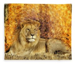 Pieces Of A Lion Fleece Blanket