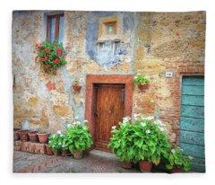 Pienza Street Scene Fleece Blanket