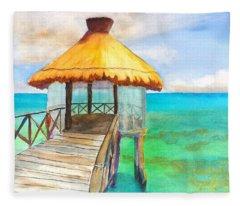 Pier Gazebo At Mayan Palace Fleece Blanket
