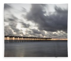 Pier In Misty Waters Fleece Blanket