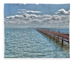 Pier Into The English Channel Fleece Blanket