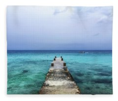 Pier On Caribbean Sea With Boat Fleece Blanket