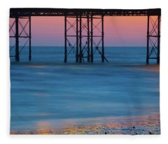 Pier Supports At Sunset I Fleece Blanket