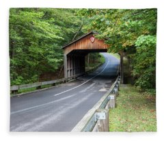 Pierce Stocking Covered Bridge Fleece Blanket