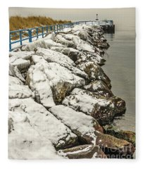 Pierhead Light On Lake Michigan Fleece Blanket