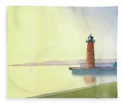 Pierhead Lighthouse, Milwaukee Fleece Blanket