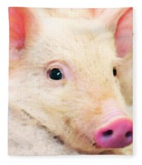Pig Art - Pretty In Pink Fleece Blanket