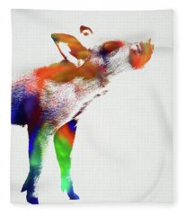 Piglet Wild Animals Of The World Watercolor Series On White Canvas 007 Fleece Blanket