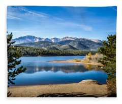 Pikes Peak Over Crystal Lake Fleece Blanket