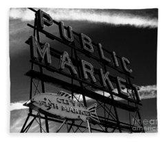 Pikes Place Market Sign Fleece Blanket