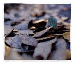 Pile Of Leaves At Dusk In Savannah Georgia Fleece Blanket