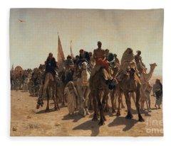 Pilgrims Going To Mecca Fleece Blanket