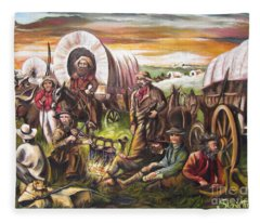 American    History  Pilgrims On The Plain Fleece Blanket