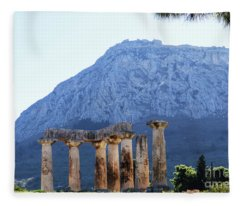 Pillars Of Temple Of Apollo In Corith, Greece, With Acrocorinth In Background Fleece Blanket