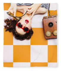 Pin-up Beauty Decision Making On Old Phone Fleece Blanket
