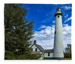 Pine At New Presque Isle Light Fleece Blanket