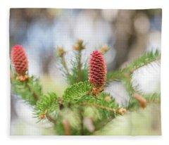 Pine Cones In Spring Time Fleece Blanket