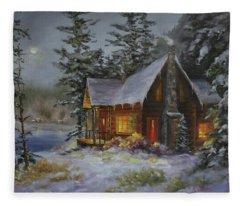 Pine Cove Cabin Fleece Blanket