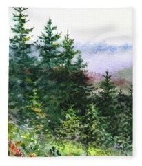 Pine Trees And Meadow  Fleece Blanket