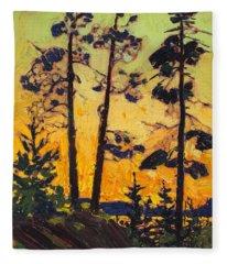 Pine Trees At Sunset Fleece Blanket
