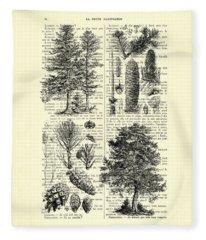 Pine Trees Study Black And White  Fleece Blanket