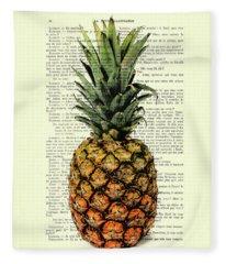 Pineapple In Color Illustration Fleece Blanket