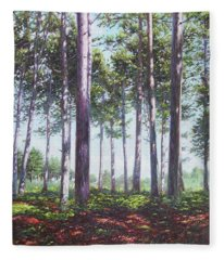 Pines In New Forest Shade Fleece Blanket
