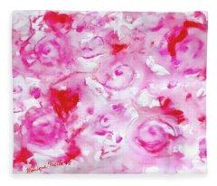 Pink Abstract Floral Fleece Blanket