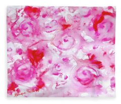 Pink Abstract Floral Fleece Blanket