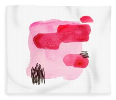 Fleece Blanket featuring the painting Pink And Black Abstract by Cortney Herron