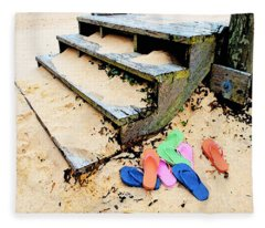 Pink And Blue Flip Flops By The Steps Fleece Blanket