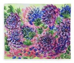 Pink And Blue Flower Flurry Fleece Blanket