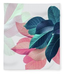 Pink And Blue Leaves Fleece Blanket