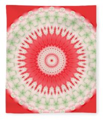 Pink And Green Mandala Fractal 001 Fleece Blanket