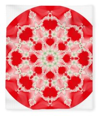 Pink And Green Watercolor Snowflake Fractal Fleece Blanket