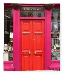 Pink And Orange Door Ireland Fleece Blanket