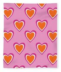 Pink And Orange Hearts- Art By Linda Woods Fleece Blanket