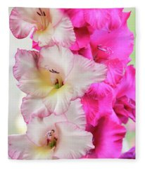 Pink And Red Gladiolas. Fleece Blanket