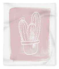 Pink And White Cactus- Art By Linda Woods Fleece Blanket