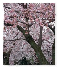 Pink And White Cherry Blossoms Fleece Blanket