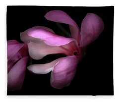 Pink And White Magnolia In Silhouette Fleece Blanket