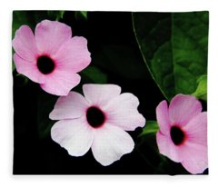 Pink And White Mandevilla Fleece Blanket